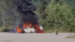Fire engulfs 2018 Mini Cooper S Countryman. Image from video provided by Timi-Lee Skingley
