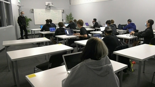 A-21 Academy students back in class