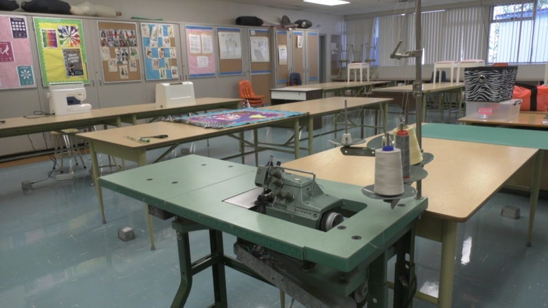 A home economics classroom at Dr. Charles Best Secondary in Coquitlam, B.C. is seen on Sept. 8, 2020.