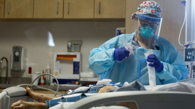 A patient receives medical care in the intensive care unit at a hospital in El Centro, California in July 2020. (AFP)