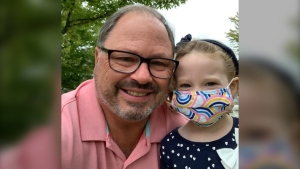 Don Martin joined his granddaughter Ali's walk to school with her parents and older brothers today to launch her education on a first-day start unlike any other. (Don Martin)