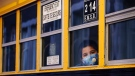 A student peers through the window of a school bus. (Paul Chiasson/THE CANADIAN PRESS)
