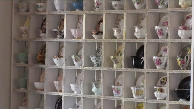 Jassy Boutique & Tearoom showcases antique teacups from around the world.
