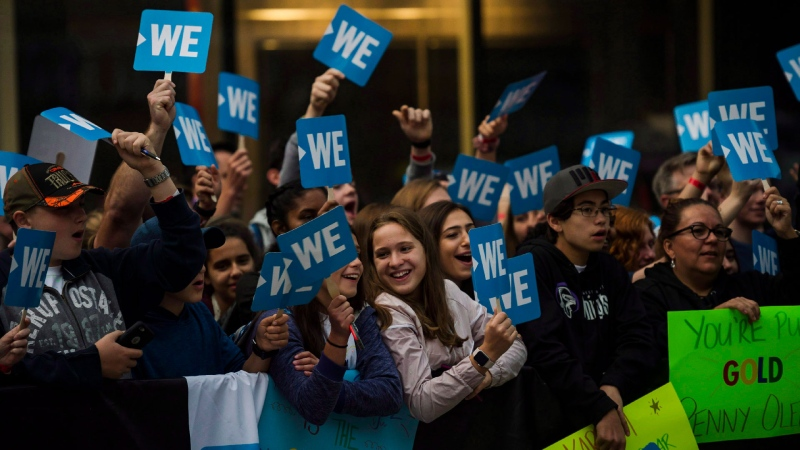 A crowd gathers before the WE Day red carpet in Toronto, on Thursday, September 20, 2018. (THE CANADIAN PRESS/Christopher Katsarov)