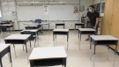 A classroom with desks spread out in Surrey, B.C.