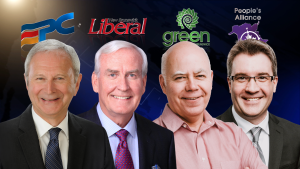 Pictured from left to right: Progressive Conservative Leader Blaine Higgs, Liberal Leader Kevin Vickers, Green Leader David Coon and People's Alliance of New Brunswick Leader Kris Austin.