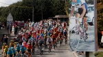 The pack rides past a picture of late French cyclist ace Raymond Poulidor in Saint-Leonard-de-Noblat during the stage 12 of the Tour de France cycling race over 218 kilometers from Chauvigny to Sarran, Thursday, Sept. 10, 2020. (AP Photo/Thibault Camus)