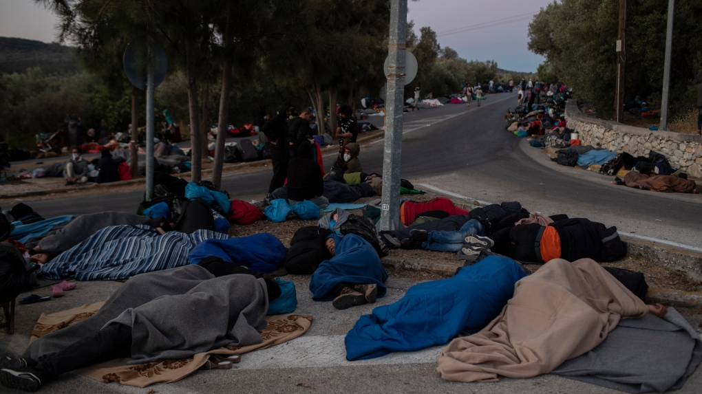 Lesbos migrant camp fire leaves families sleeping on the streets