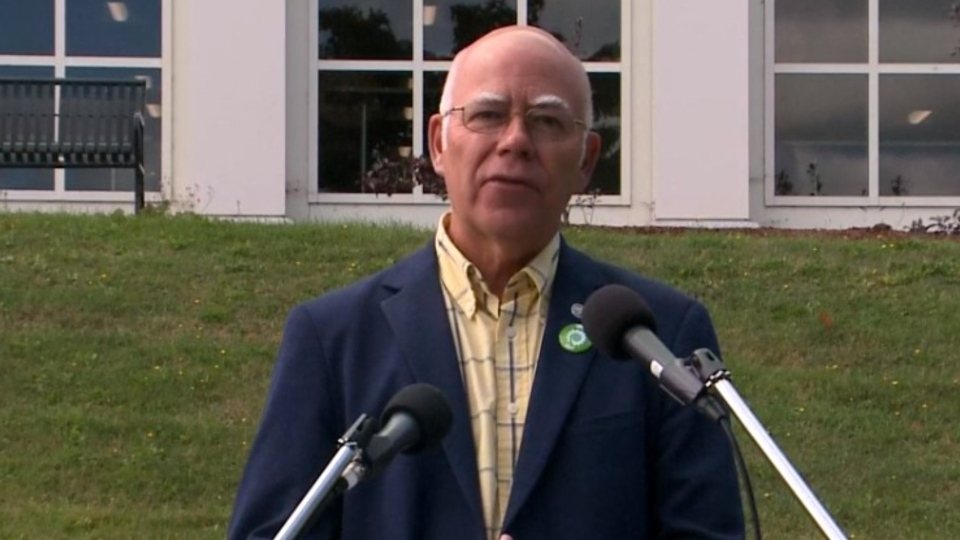 New Brunswick Green Leader David Coon makes a campaign stop in Fredericton on Sept. 11, 2020.