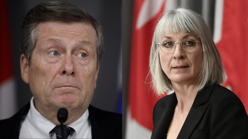 Toronto Mayor John Tory and Canada's Health Minister Patty Hajdu are seen in these undated photos.