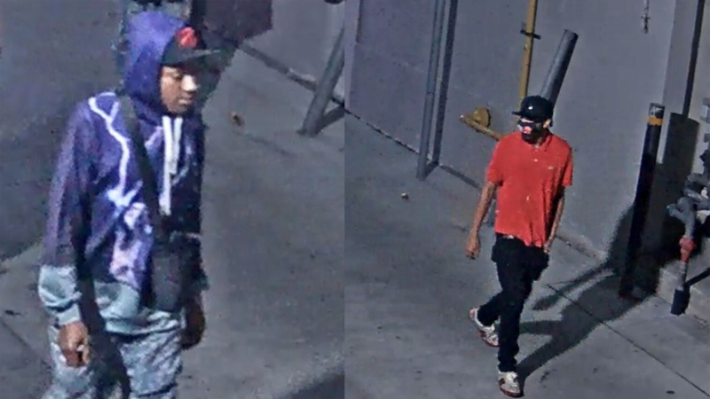 Police are looking for two suspects who they believe are responsible for stabbing a 25-year-old man in downtown Toronto in August. (Handout)