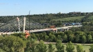 The Tawatina Bridge span was finally completed on the long-delayed Valley Line Southeast LRT Friday, Sept. 11, 2020. (CTV News Edmonton)
