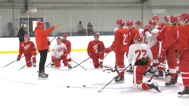 The Weyburn Red Wings hold training camp as the team awaits the start of the 2020-2021 SJHL season. (Claire Hanna/CTV News Regina)