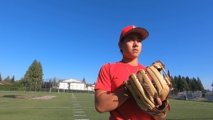 Abbotsford, B.C. baseball player Raine Padgham is seen on Sept. 11, 2020.