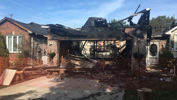 Fire destroys two homes on Parkview Drive in Strathroy Ont. on Sept. 11, 2020. (Brent Lale/CTV London)