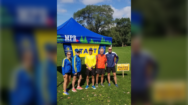 The virtual Boston Marathon start line in Windsor, Ont. (Courtesy Malden Park Runners)