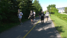 Defence Minister Harjit Sajjan (left) running 21 km with other participants in the 2020 Army Run in Ottawa, Sept. 12, 2020. (Shaun Vardon / CTV News)