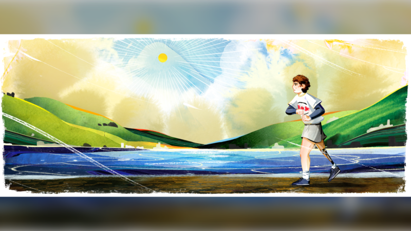 Sunday's Google Doodle pays tribute to famed Canadian athlete and cancer activist Terry Fox on the anniversary of the first run event organized across Canada in his honour. (Google)