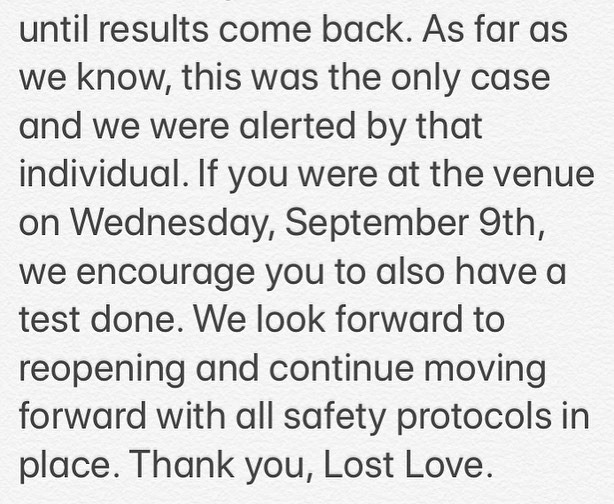 Love Lost Social House Facebook post