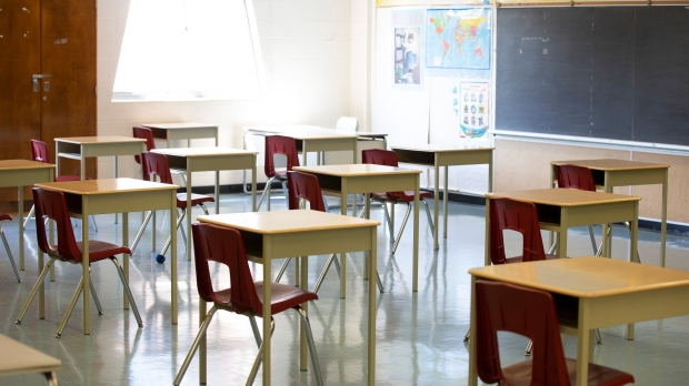 A physically distanced classroom is seen in this photo taken on Tuesday, September 1, 2020. THE CANADIAN PRESS/Carlos Osorio