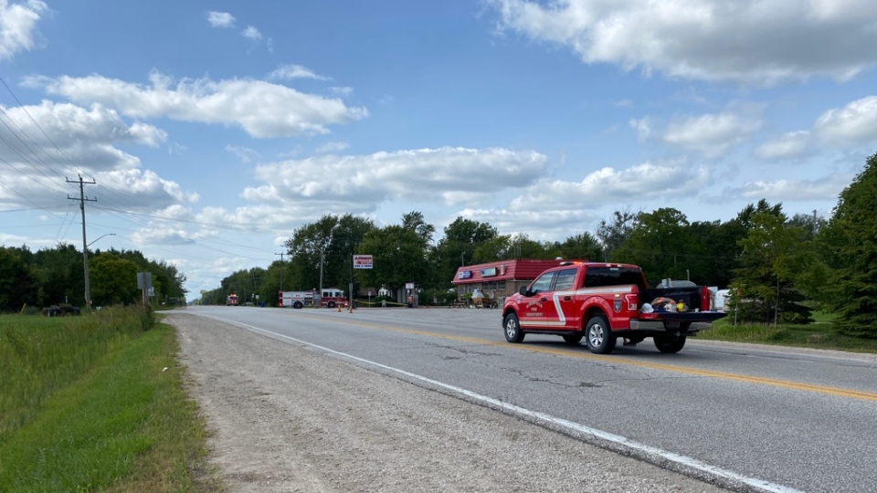 The hazmat scene on County Road 20 and County Road 23 in Kingsville, Ont. (Courtesy OPP)