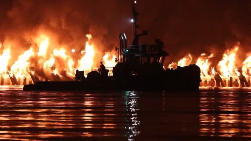 Fire has devastated part of a pier near downtown New Westminster on Sept. 13, 2020. Fire departments from surrounding areas helped put the flames out.