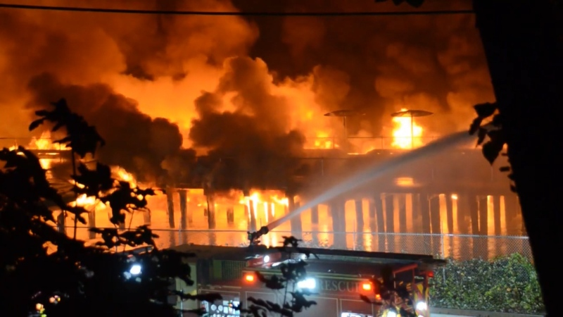 A massive fire destroyed a section of New Westminster's waterfront pier on Sept. 13, 2020.