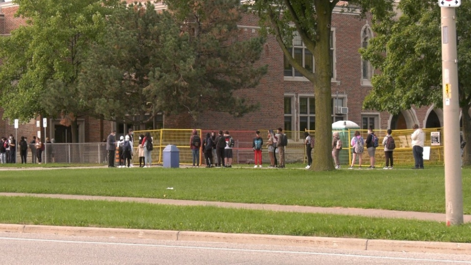 Students outside Kennedy Collegiate on Monday, Sept. 14, 2020. (Bob Bellacicco / CTV Windsor)