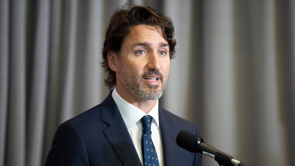 Prime Minister Justin Trudeau speaks with the media before the first day of a Liberal cabinet retreat in Ottawa, Monday September 14, 2020. THE CANADIAN PRESS/Adrian Wyld