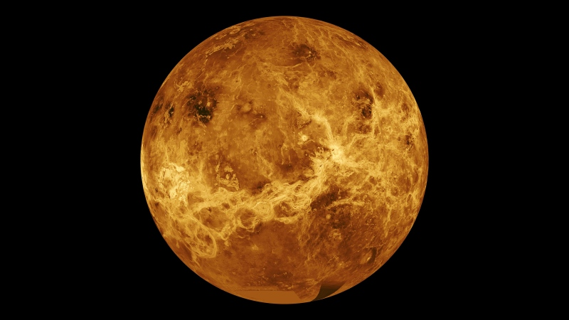 This global view of the surface of Venus is centered at 180 degrees east longitude. Magellan synthetic aperture radar mosaics from the first cycle of Magellan mapping are mapped onto a computer-simulated globe to create this image. (Jet Propulsion Laboratory-Caltech/NASA/CNN)