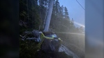 A Sea to Sky Gondola car lies on the ground. The attraction says the main cable was deliberately cut for a second time on Sept. 14, 2020. (RCMP handout)