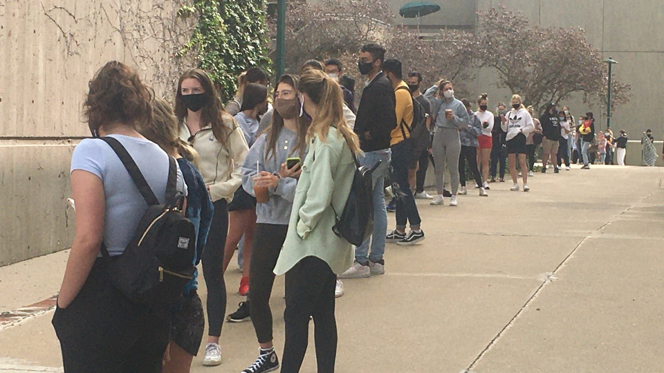 Students line up to get tested at the COVID-19 Assessment Centre at Western University in London, Ont. on Monday, Sept. 14, 2020. (Brent Lale / CTV News)