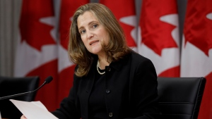 Deputy Prime Minister Chrystia Freeland speaks during a press conference in Toronto, Monday, Aug. 31, 2020. THE CANADIAN PRESS/Cole Burston