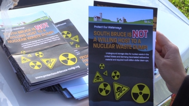 """""""South Bruce is not a Willing Host to a Nuclear Waste Dump"""" flyer seen on Sept. 14, 2020. (Scott Miller/CTV London)"""