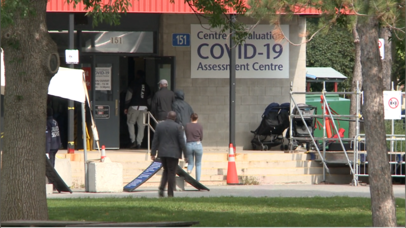 People walk into the COVID-19 assessment centre at the Brewer Arena in Ottawa, Sept. 14, 2020. (Chris Black / CTV News Ottawa)