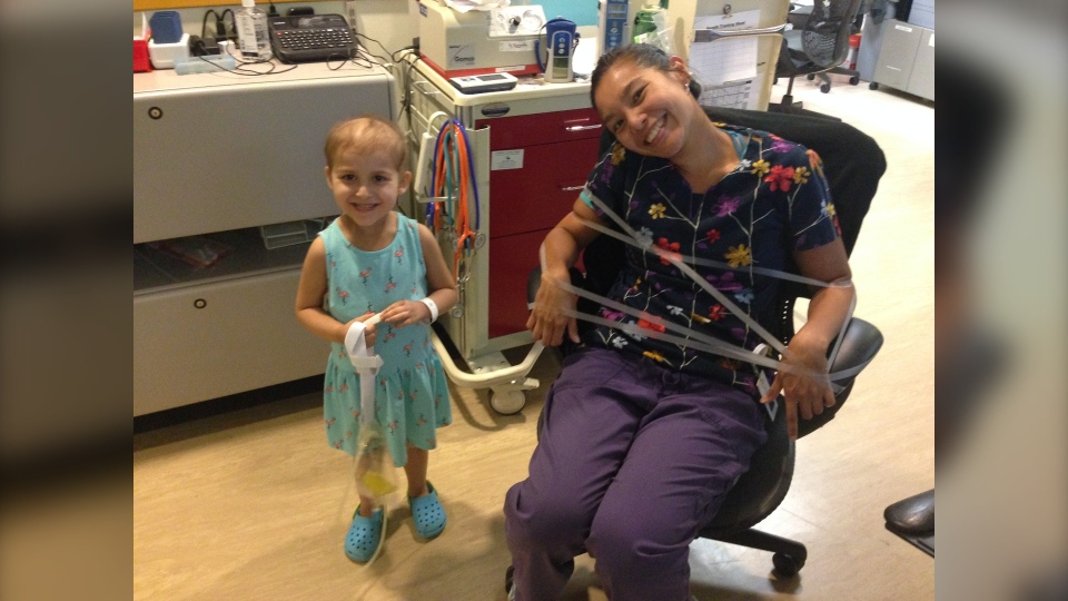 Izel Lopez-Daley has fun at CHEO. (Photo provided by Rachelle Daley)