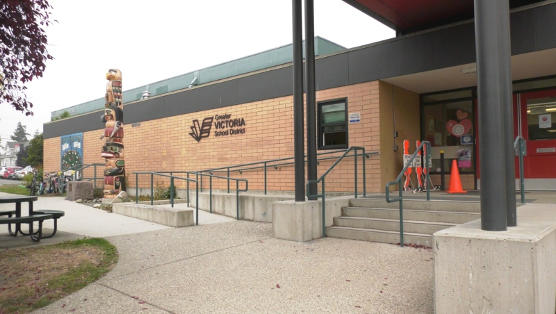 The front doors of Ecole George Jay Elementary School are shown: Sept. 14, 2020 (CTV News)
