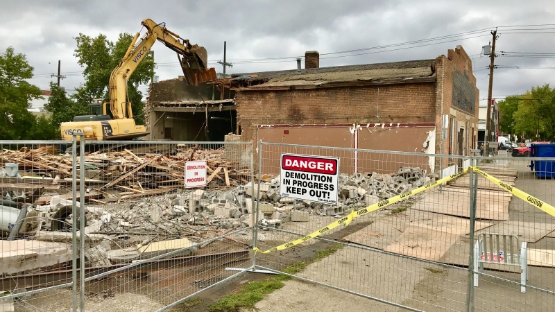 The Minchau Blacksmith Shop in Old Strathcona was torn down on Sept. 14, 2020. (Sean Amato/CTV News Edmonton)