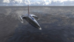 This image shows what the finished Mayflower Autonomous Ship should look like as it crosses the Atlantic.