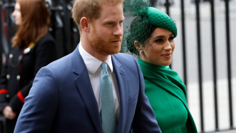 In this Monday, March 9, 2020 file photo, Harry and Meghan the Duke and Duchess of Sussex arrive to attend the annual Commonwealth Day service at Westminster Abbey in London. (AP Photo/Kirsty Wigglesworth, file)