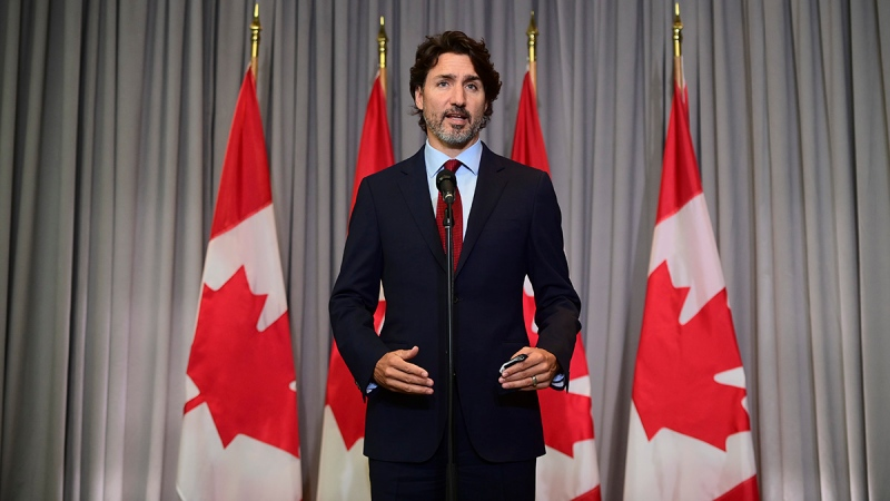 Prime Minister Justin Trudeau speaks on the second day of the Liberal cabinet retreat in Ottawa on Tuesday, Sept. 15, 2020. THE CANADIAN PRESS/Sean Kilpatrick