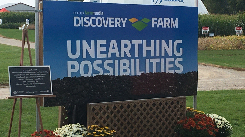 There are plans for a new Discovery Farm at the Woodstock Research Station in Woodstock, Ont. The new logo is seen Tuesday, Sept. 15, 2020. (Brent Lale / CTV News)