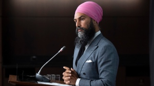 NDP Leader Jagmeet Singh listens to a question during a news conference in Ottawa, Tuesday, Sept. 15, 2020. THE CANADIAN PRESS/Adrian Wyld