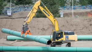 Construction of the Trans Mountain pipeline is seen under way in Kamloops, B.C., Tuesday, Sept. 1, 2020. (Photo: THE CANADIAN PRESS/Jonathan Hayward)