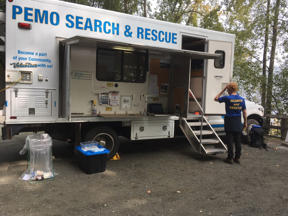 A search and rescue command base is seen at Elk Lake: (CTV News)
