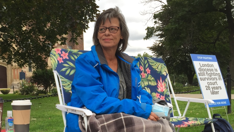 Sexual abuse survivor Irene Deschenes takes part in a rally outside St. Peter's Basilica in London, Ont. on Tuesday, Sept. 15, 2020. (Bryan Bicknell / CTV News)