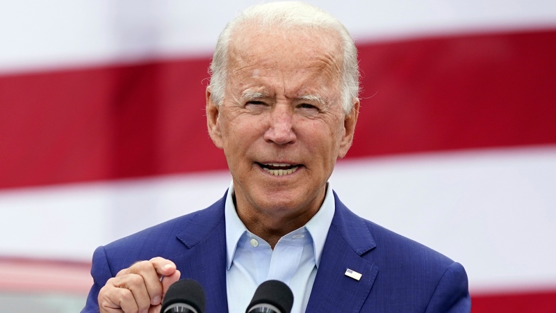 Then-U.S. Democratic presidential candidate Joe Biden speaks during a campaign event on manufacturing and buying American-made products at UAW Region 1 headquarters in Warren, Mich., Sept. 9, 2020. (Patrick Semansky/AP/CNN)