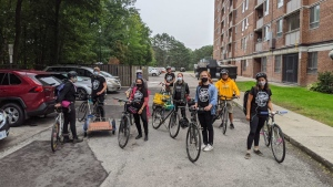 Members of Toronto's 'Bike Brigade' are helping to deliver food, medicine and other supplies by bicycle to organizations and individuals around the city.  (Supplied)