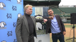 Dr. Randy Gregg and councillor Michael Walters reveal Edmonton's newest baseball team, the Edmonton Riverhawks.