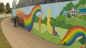 Lynda McConnell says she hopes her newest piece of artwork will bring a little bit of joy to people, and brighten up their day.